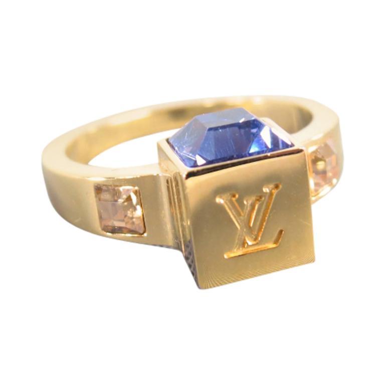 louis vuitton ring. louis vuitton gold purple swarovski crystal -gamble- dice ring 1 louis vuitton