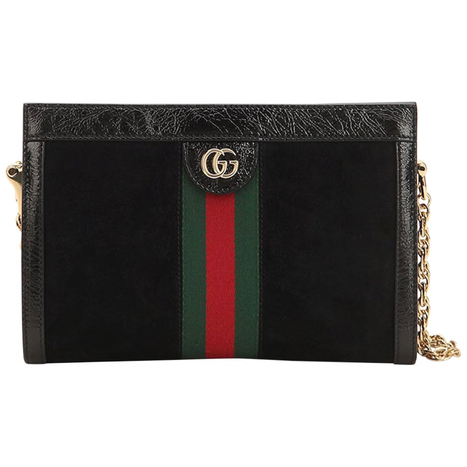 Gucci Ophidia Patent Leather-Trimmed Suede Shoulder Bag