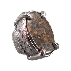 ROBERTO CAVALLI Brown Stone Silver Engraved Cocktail Ring