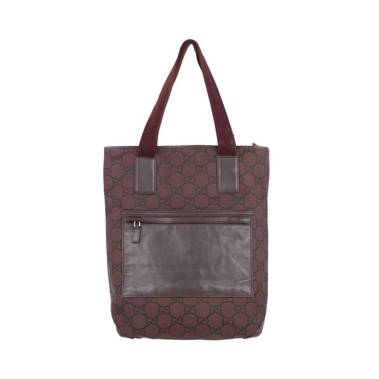 a60140be7a57 GUCCI Italian Brown GG MONOGRAM Canvas TOTE Handbag SHOPPING BAG For Sale