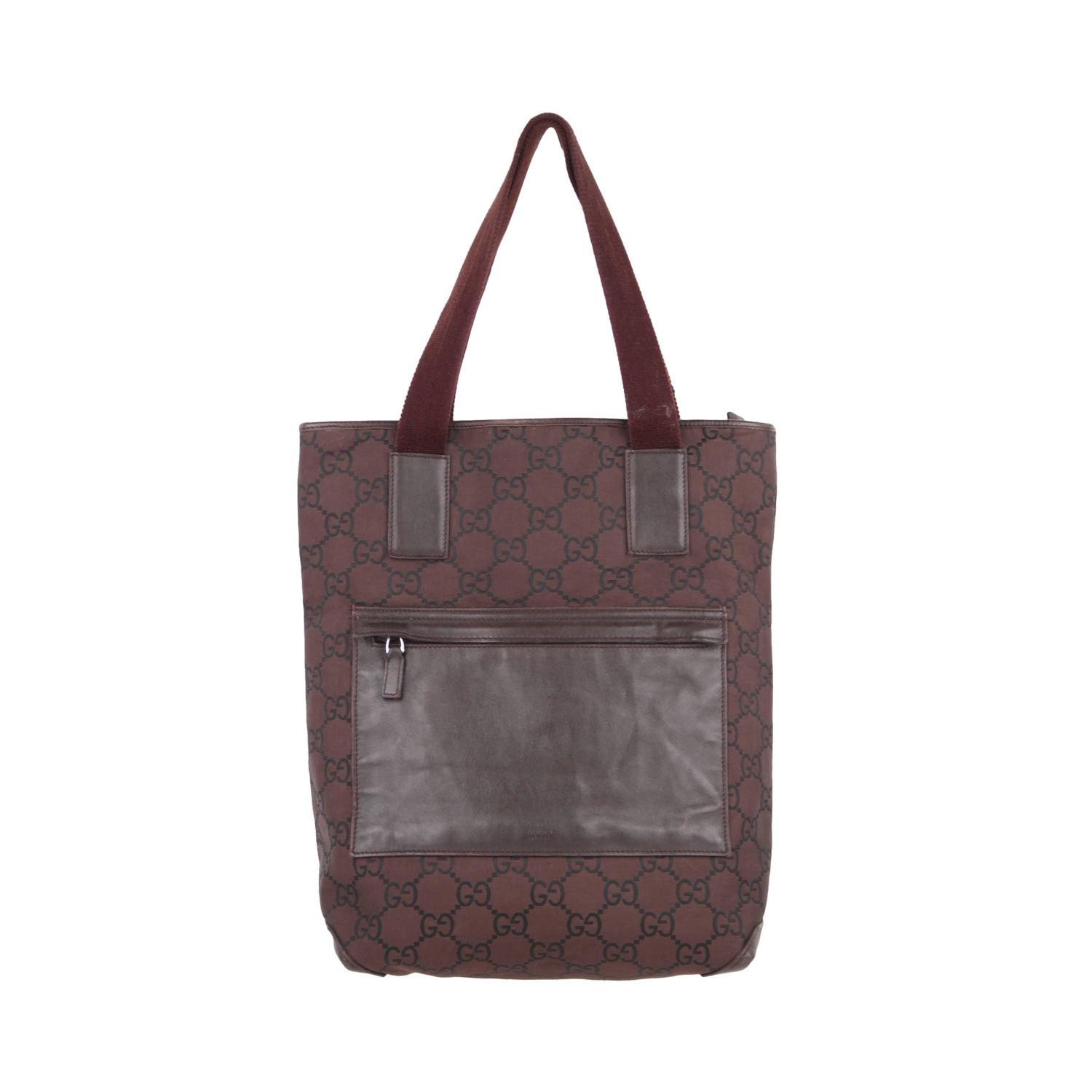 GUCCI Italian Brown GG MONOGRAM Canvas TOTE Handbag ...