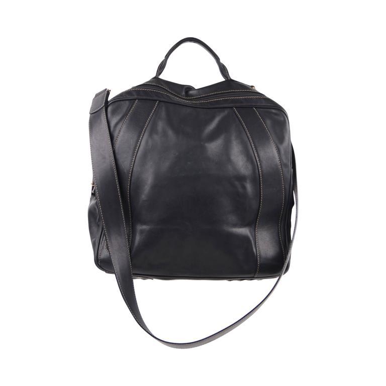 FENDI Italian VINTAGE Black Leather TRAVEL Overnight Bag SHOULDER BAG