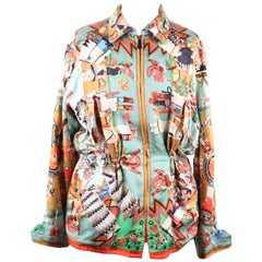 HERMES PARIS Vintage Silk REVERSIBLE JACKET Columbus & Kachinas Print RARE