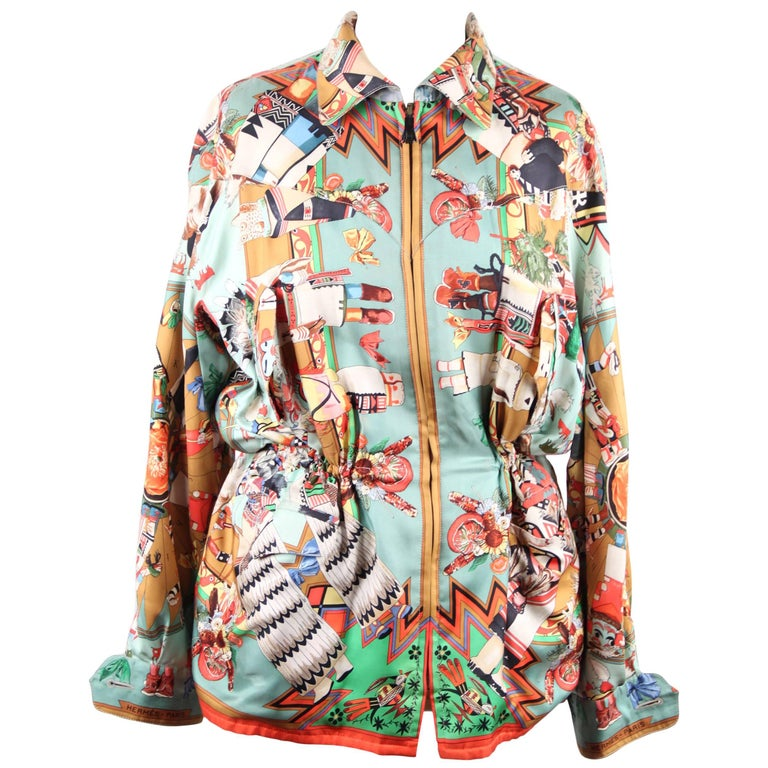HERMES PARIS Vintage Silk REVERSIBLE JACKET Columbus & Kachinas Print RARE