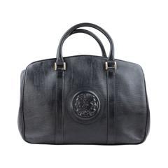 FENDI Italian VINTAGE Blue Leather SATCHEL Handbag PURSE w/ JANUS Head