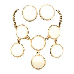 Kenneth J Lane  KJL White and Gold Necklace with Matching Earrings