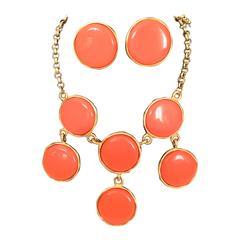 Kenneth J Lane (KJL) Orange Necklace with Matching Earrings