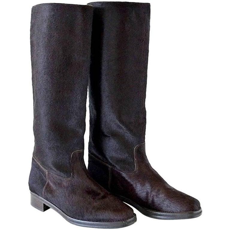 Manolo Blahnik Boot Sleek Pony Rich Luster 36 / 6 New