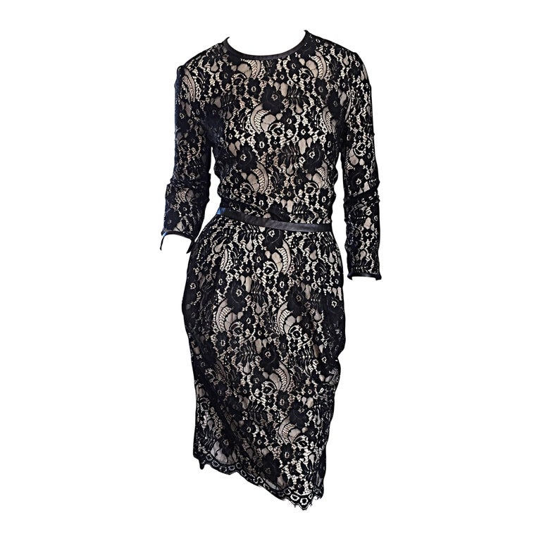 Narcisco Rodriguez Black + Nude French Lace Dress w/ Leather Accents  For Sale