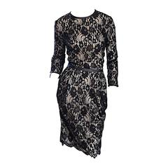 Narcisco Rodriguez Black + Nude French Lace Dress w/ Leather Accents