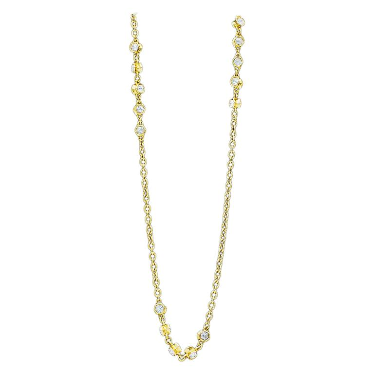 1970's Chanel Gold Chain Sautoir Necklace with Rhinestones 1