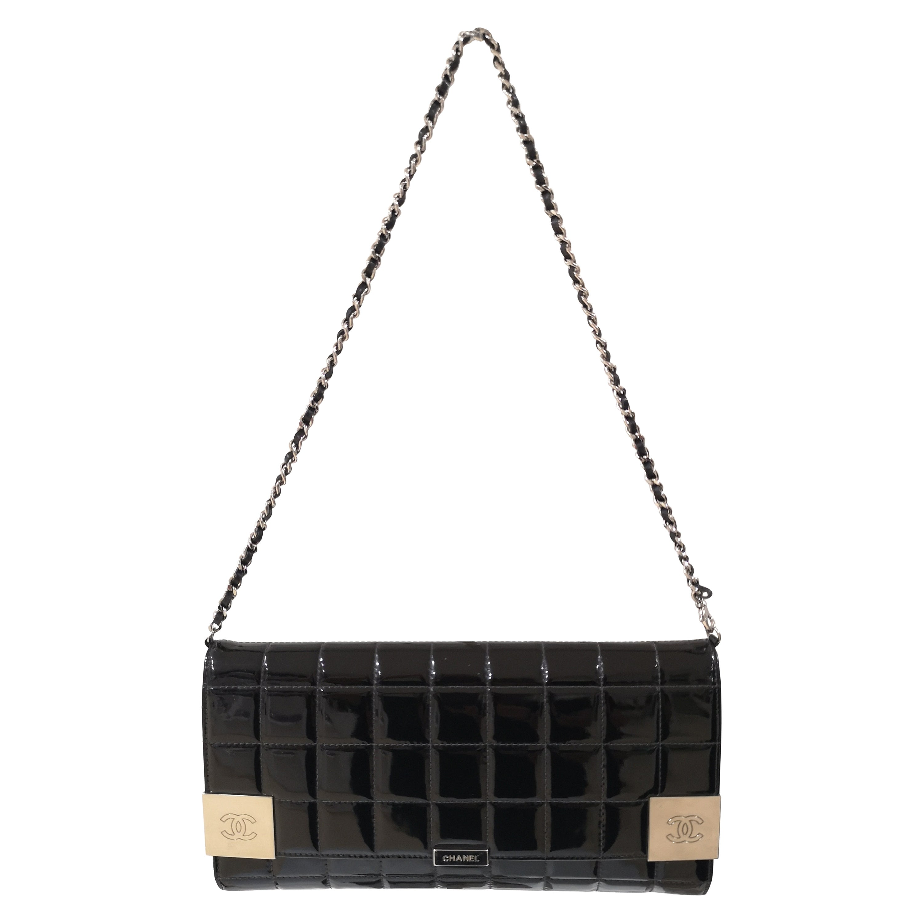 Chanel chocolate black patent leather bag