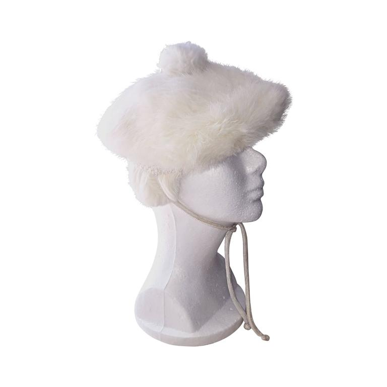 Chic 1960s 60s White Vintage Rabbit Fur Beret Hat w/ Pom Pom