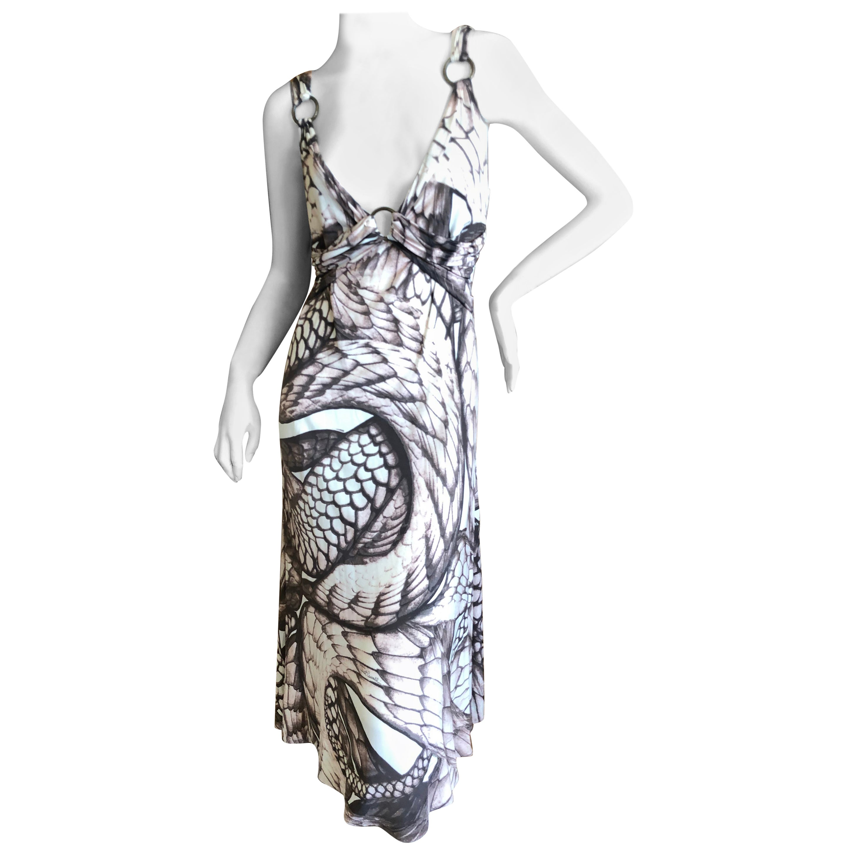 Roberto Cavalli for Just Cavalli Snake Print Dress with Brass Rings Sz 46