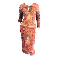 Vintage Vivienne Tam Super Rare Buddha Collection Two - Piece Dress Set