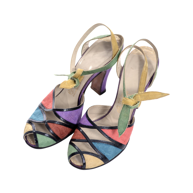 78a3c55738a9a Joseph Magnin 1940s Vintage Peep toe Shoes Ankle Strap Silk Leather 4