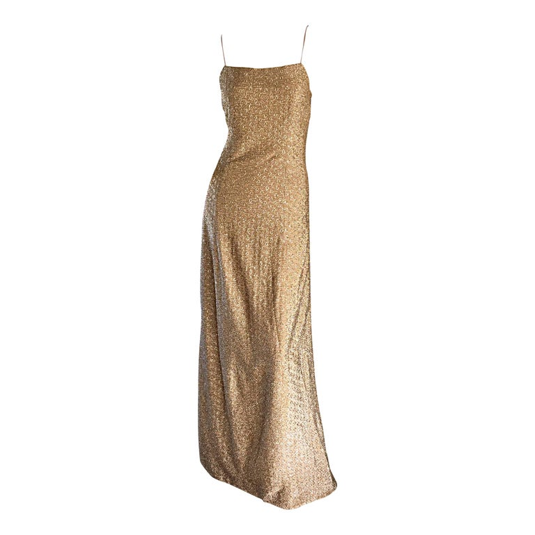 1970s James Galanos Gold Metallic Sexy Silk Vintage 70s  Dress / Gown  For Sale