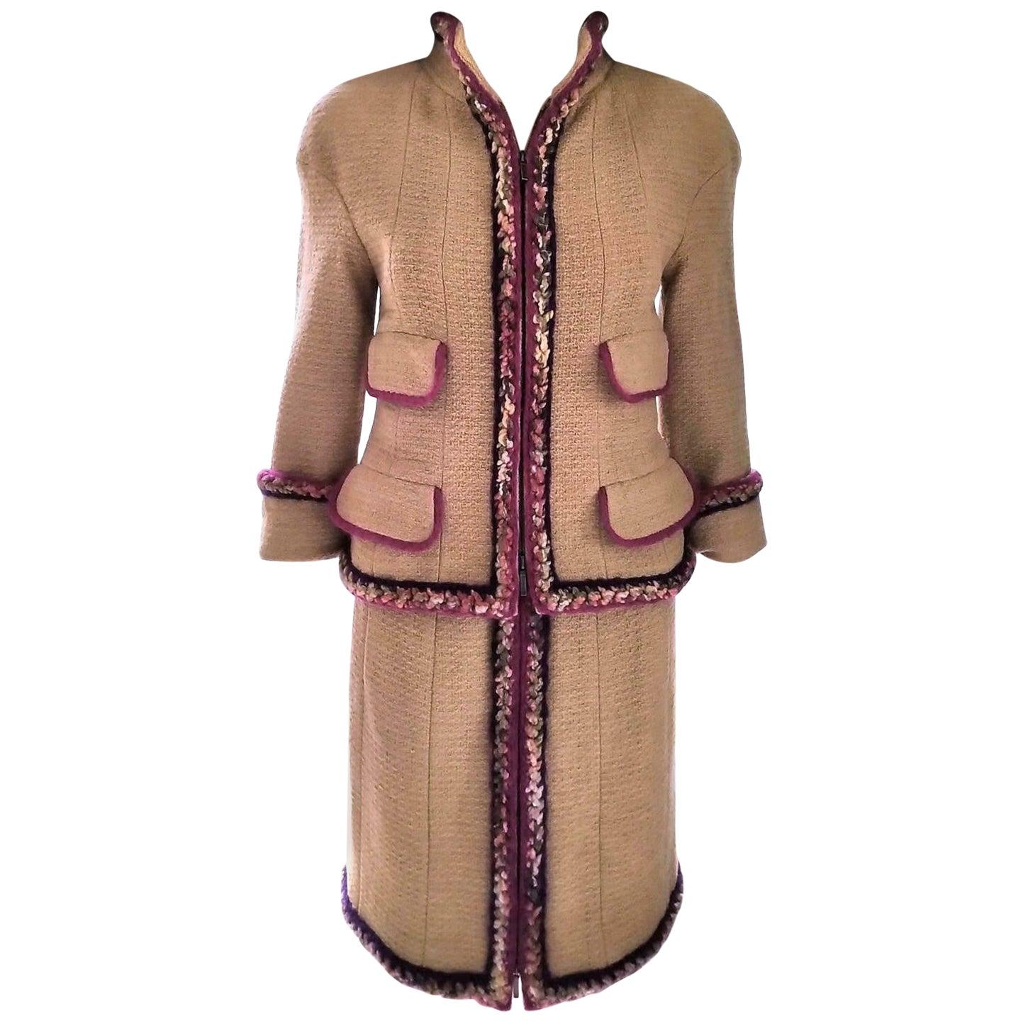Chanel 2014 14K Camel Tan Supermarket Tweed Jacket & Skirt Suit FR 34/ US 2