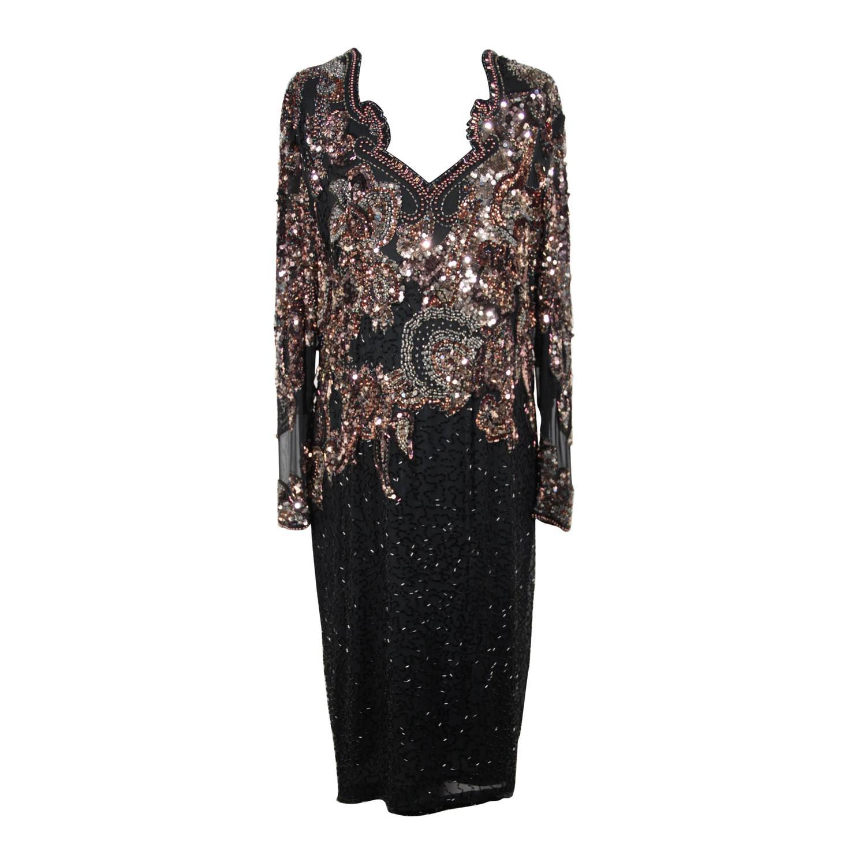 Auth BLACK TIE by OLEG CASSINI Vintage Black Beaded EVENING DRESS ...