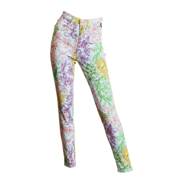 Gianni Versace Baroque Print High-Waisted Jeans For Sale