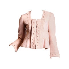 2000S Yves Saint Laurent Baby Pink Wool Blend Brocade Tom Ford For Ysl Jacket