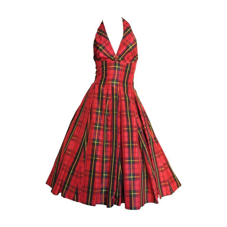 Moschino Plaid Taffeta Halter Dress 1