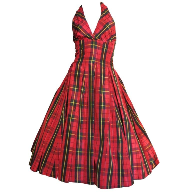 1990s Moschino New Plaid Taffeta Halter Dress