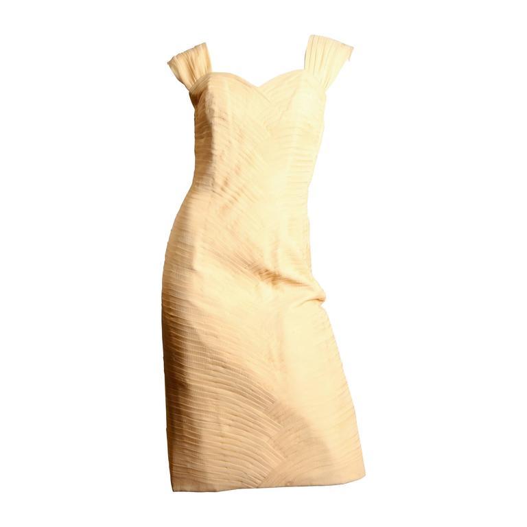 1950s Henry Ash Masterfully Pleated Chiffon Dress