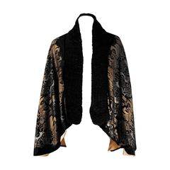 1920's Gallenga Couture Metallic Stenciled Novelty Black Ruched Velvet Cape