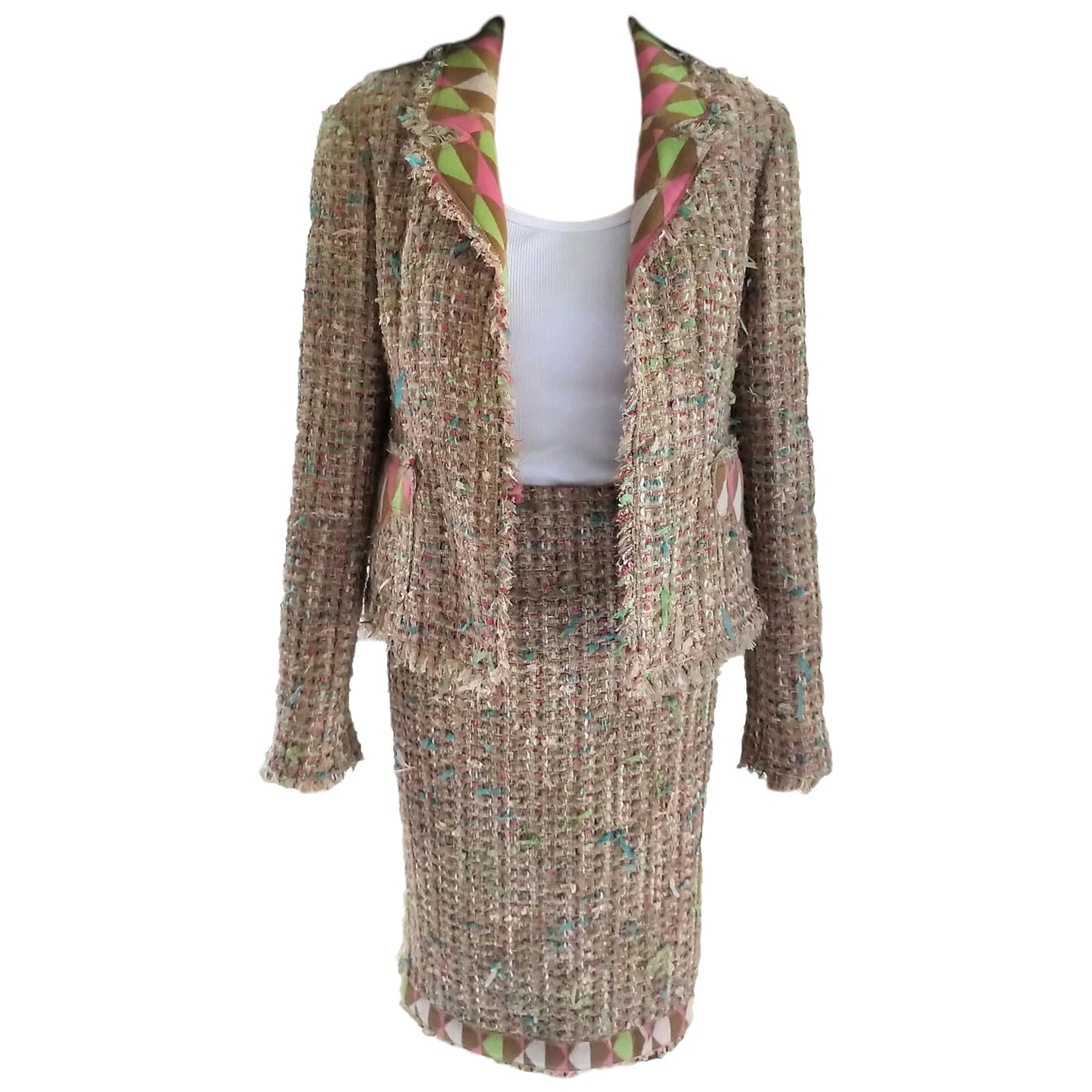 Chanel 2004 04A Nude-Beige Fantasy Tweed Sequin Jacket & Skirt Suit FR 38/ US 6