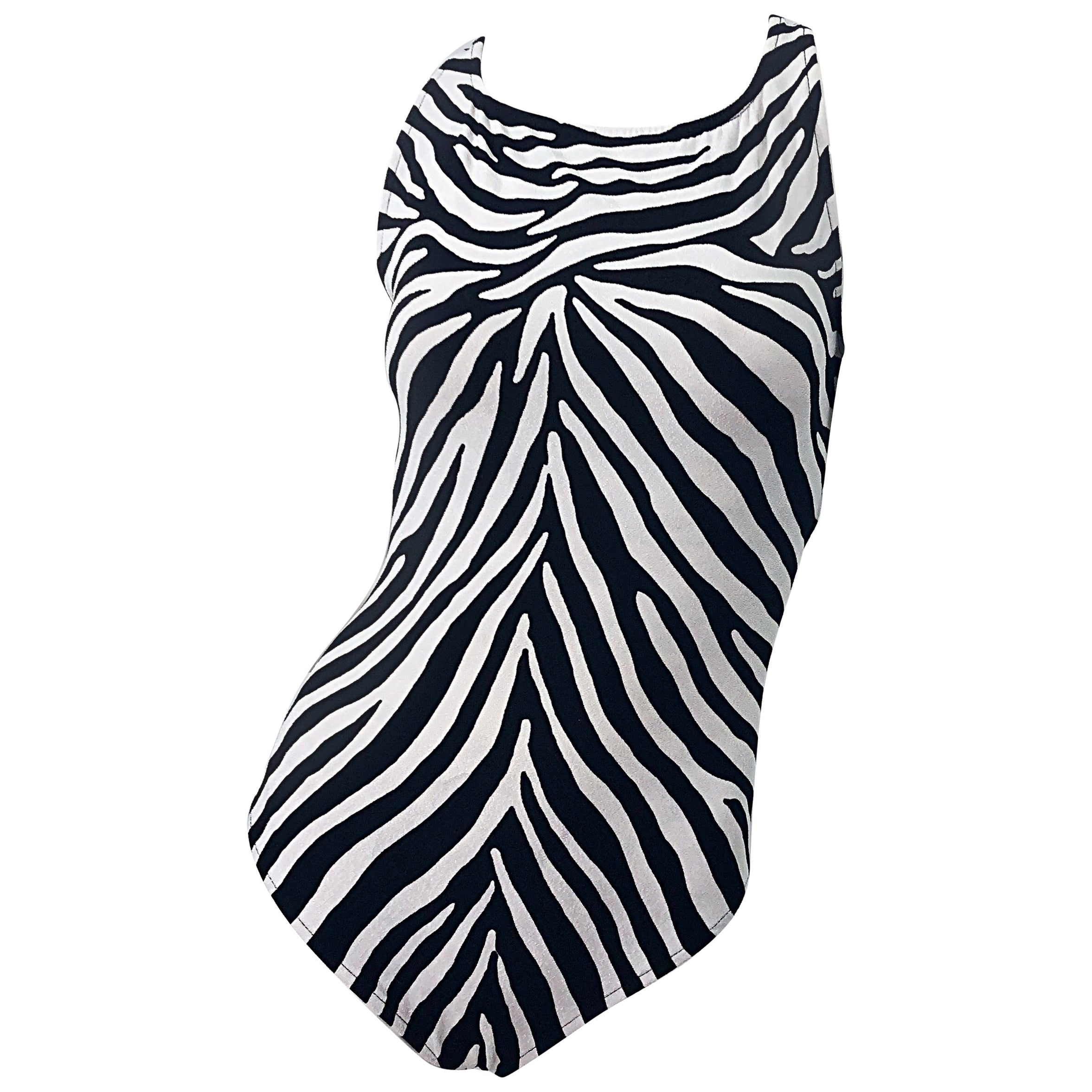 1980s Bill Blass Size 14 Zebra Print Black White One Piece Swimsuit / Bodysuit
