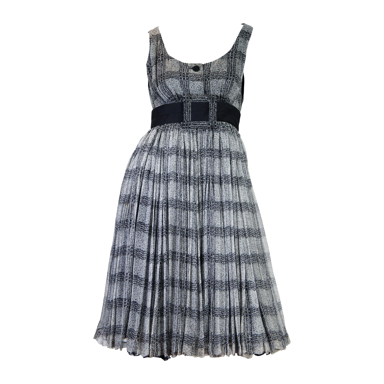 1980S JAMES GALANOS Black & Grey Silk Chiffon Super Full Layered Dress