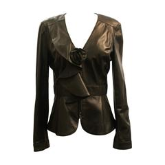 Oscar De La Renta Black Leather Jacket w/ Ruffle and Flower Detail - 10