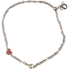 DIOR Silver Chain Pink & Red Crystal Heart Charm Bracelet