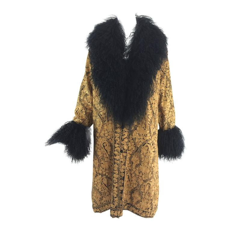 Gold crewel embroidered coat with Mongolian lamb collar & cuffs 1960s For Sale