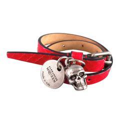 ALEXANDER MCQUEEN Red Snake Leather Silver Crystal Eye Skull Tag Wrap Bracelet