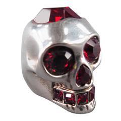 ALEXANDER MCQUEEN Ruby Red Heart Crystal Skull Ring