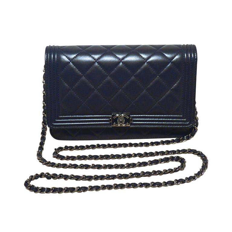 Chanel Classic Navy Blue Boy Bag Woc Wallet On A Chain at 1stdibs 360bede1d