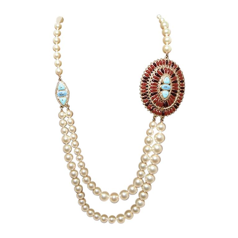 Chanel Pearl Necklace With Turquoise and Burgundy Stones For Sale
