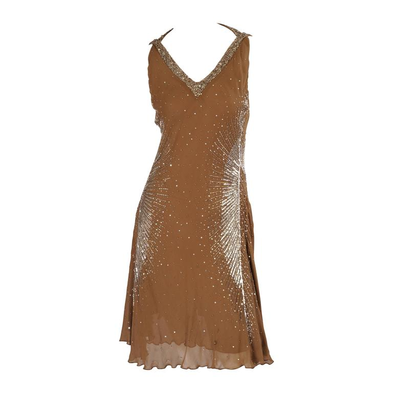 Cavalli Sexy Hand Beaded Mocha Colored Silk Halter Dress