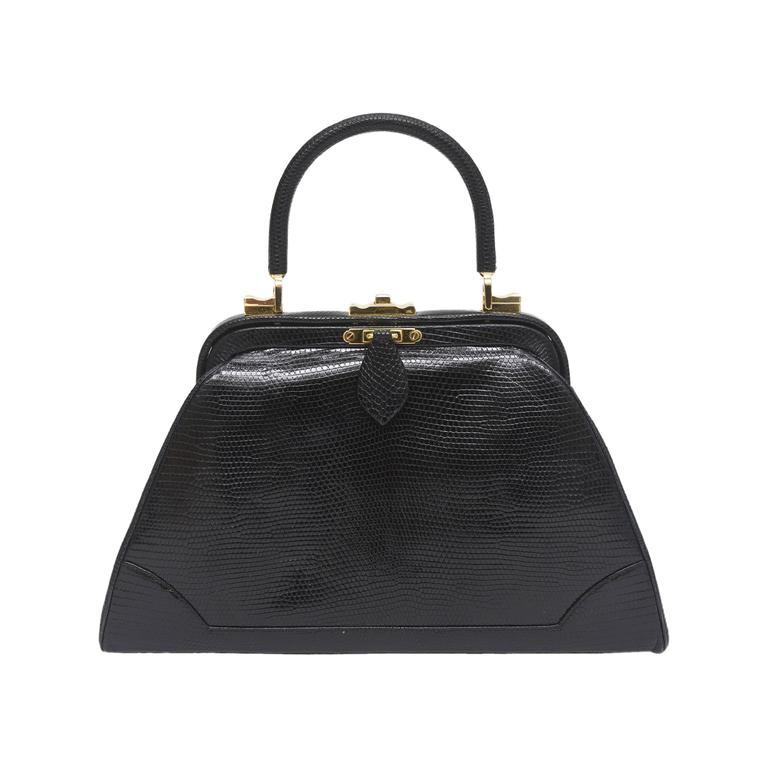 Elegant Judith Leiber Vintage Black Lizard Kelly Handbag / SALE