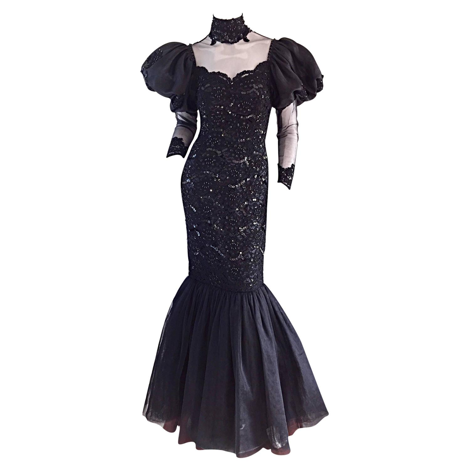 amazing 1980s alfred bosand couture black silk lace beaded