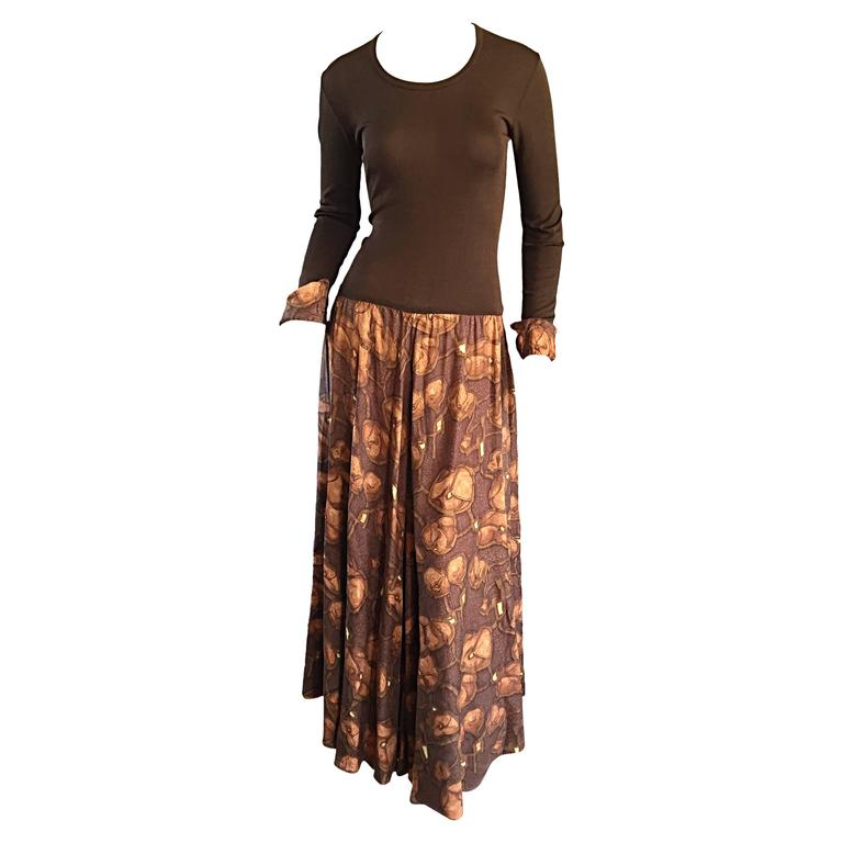 Vera Maxwell 1970s Brown Printed ' Poppy ' Vintage 70s Jersey Maxi Dress