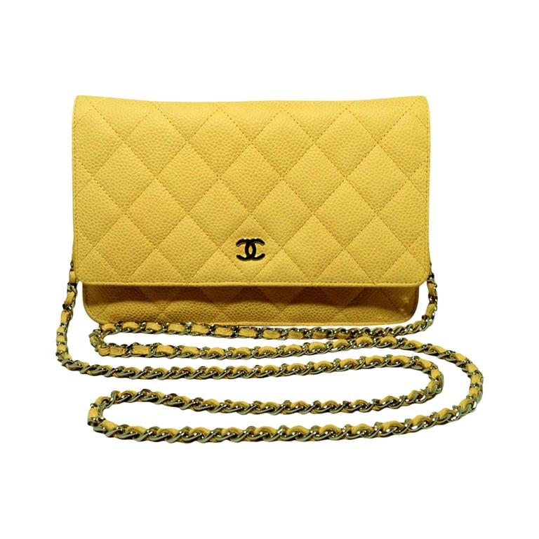 Chanel Mustard Yellow Leather Wallet On A Chain Woc 1