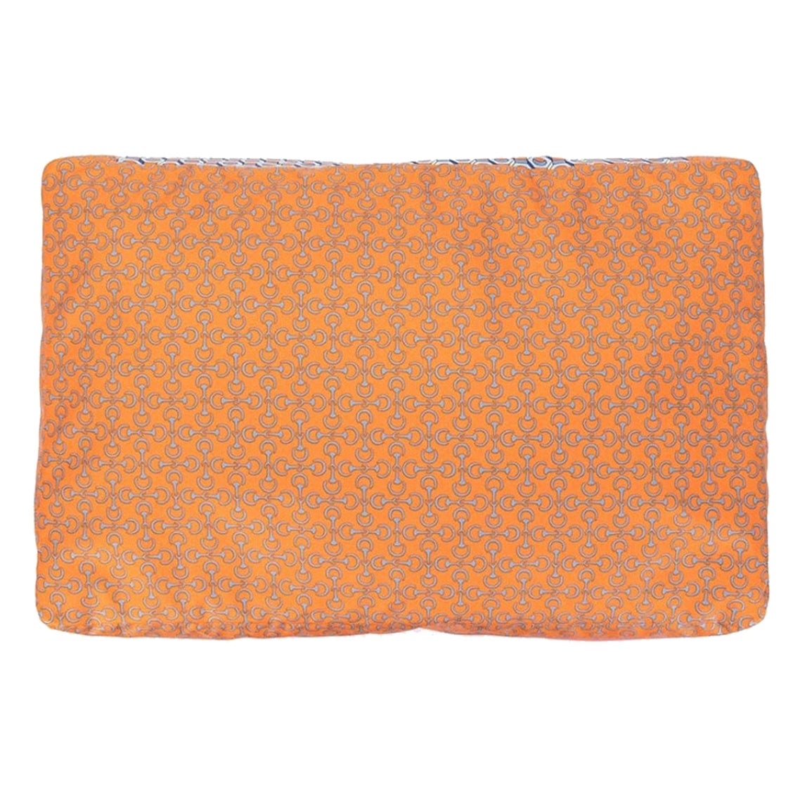 Hermes NEW Silk Orange Chaine Pattern Chair Bed Sofa Cushion Cover Pillow in Box