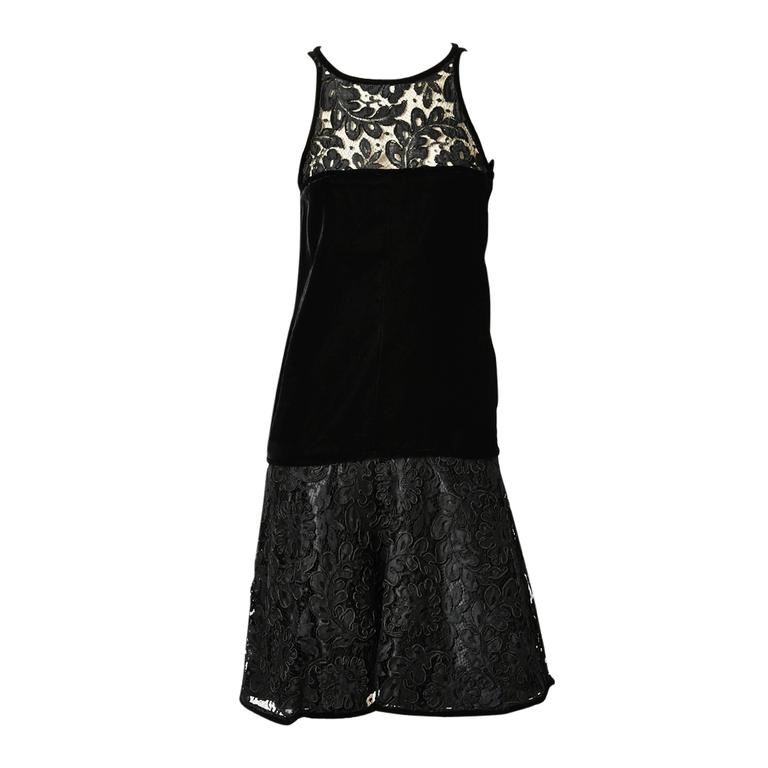 Yves Saint Laurent Lace and Velvet Cocktail Dress For Sale