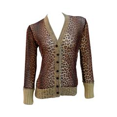 Jean Paul Gaultier Cheetah Print Cardigan with Angora Trim