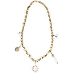 Napier Gold Link Chain Hanging Crystal Pendant Necklace