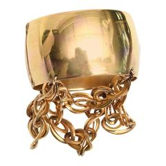 Gold Wash over Sterling Silver Cuff Bracelet with Dangling Link Chain