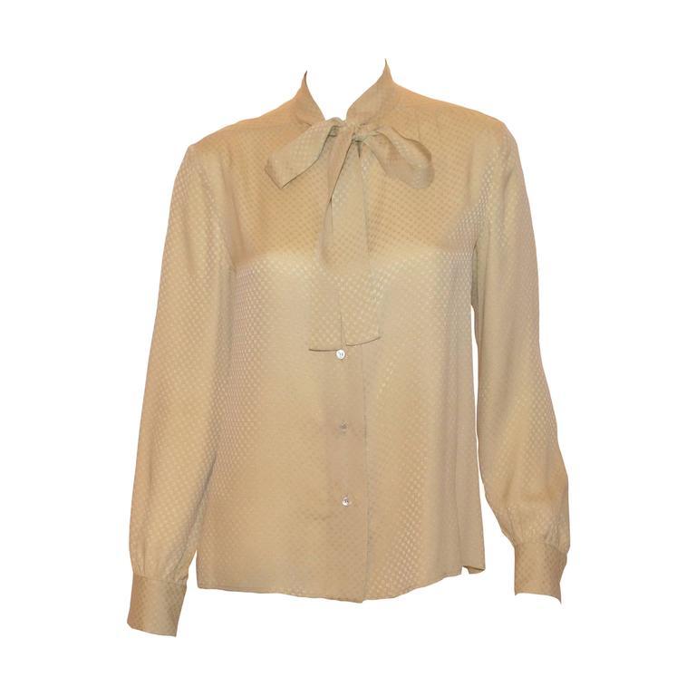 Chanel Creations 1970s Cream CC Logo Print Silk Tie Neck Blouse 1